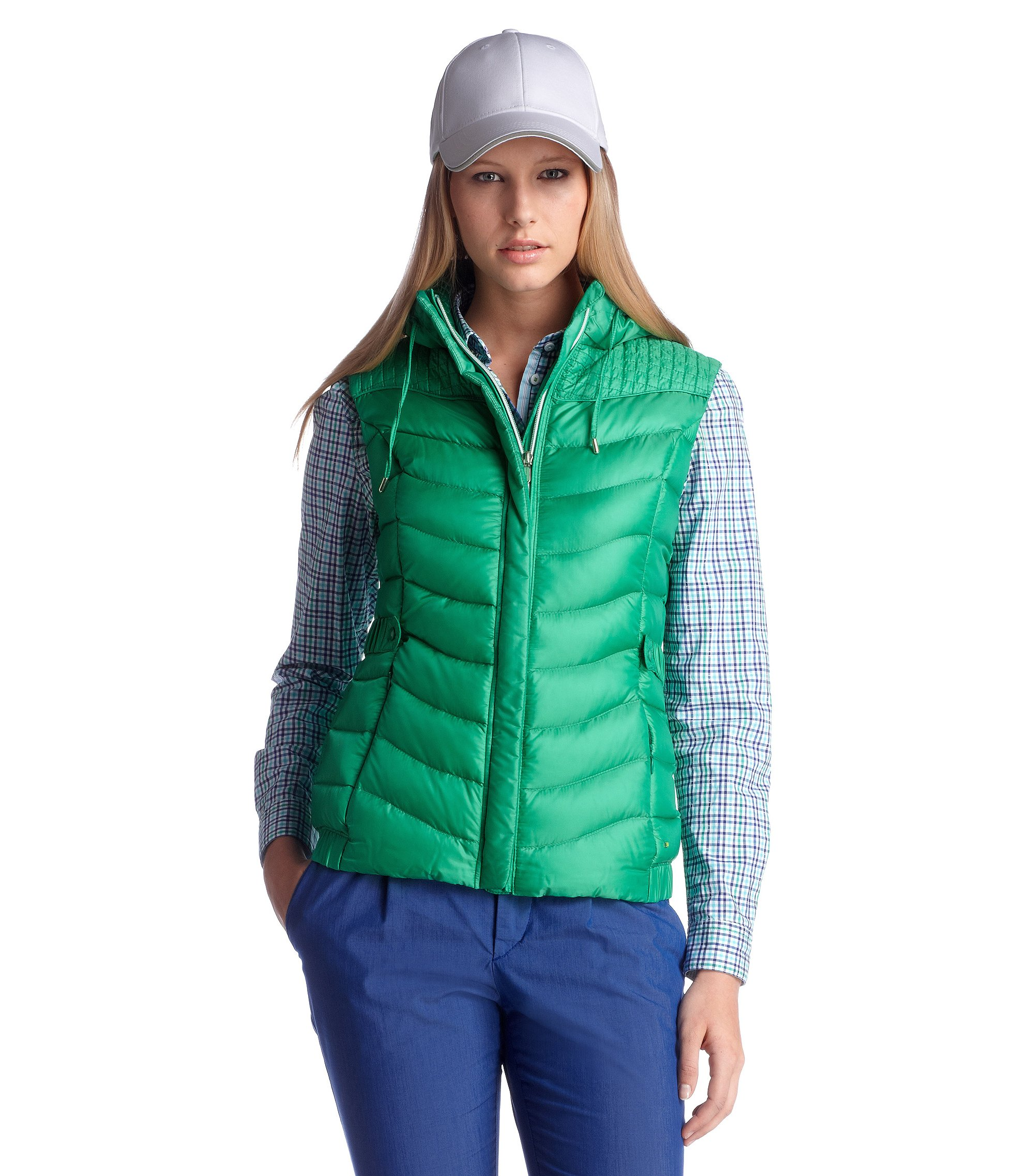 Down body warmer with band collar 'Jiovane', Green