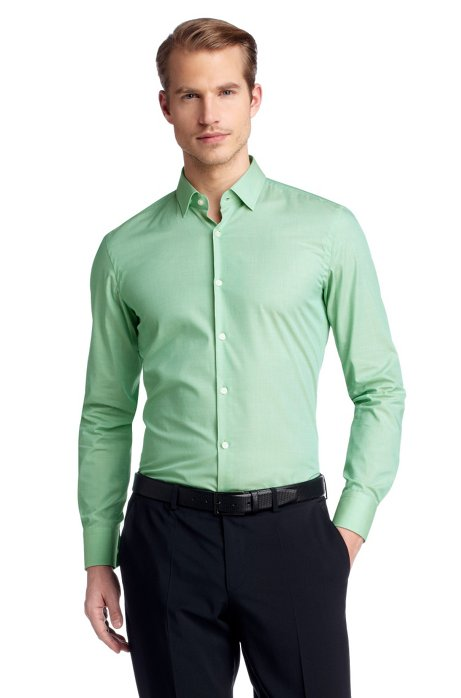 Business shirt with narrow Kent collar 'Jenno', Open Green
