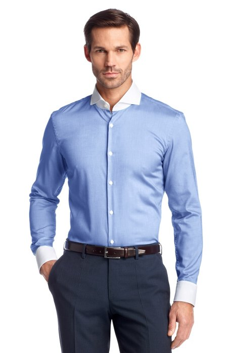 Business shirt with contrasting collar 'Johan', Blue