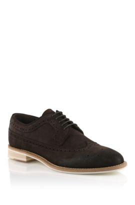 Chaussures à lacets en cuir velours, Ofero, Marron foncé