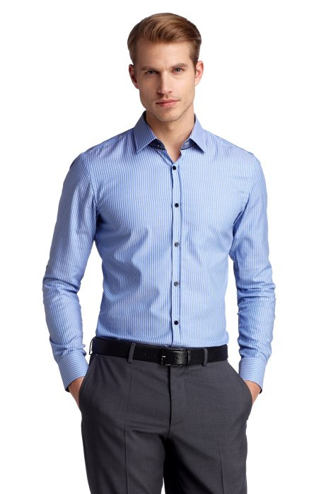 Slim fit business shirt with woven stripes 'Jask, Blue
