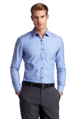 Slim-Fit Business-Hemd ´Jask` mit Webstreifen, Blau