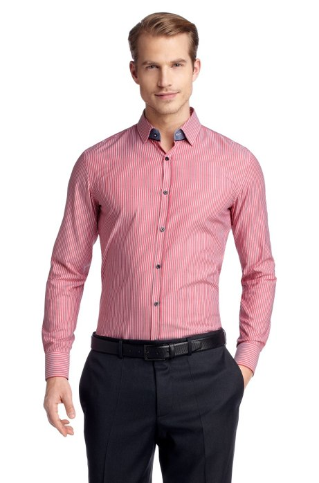 Slim fit business shirt with woven stripes 'Jask, Red