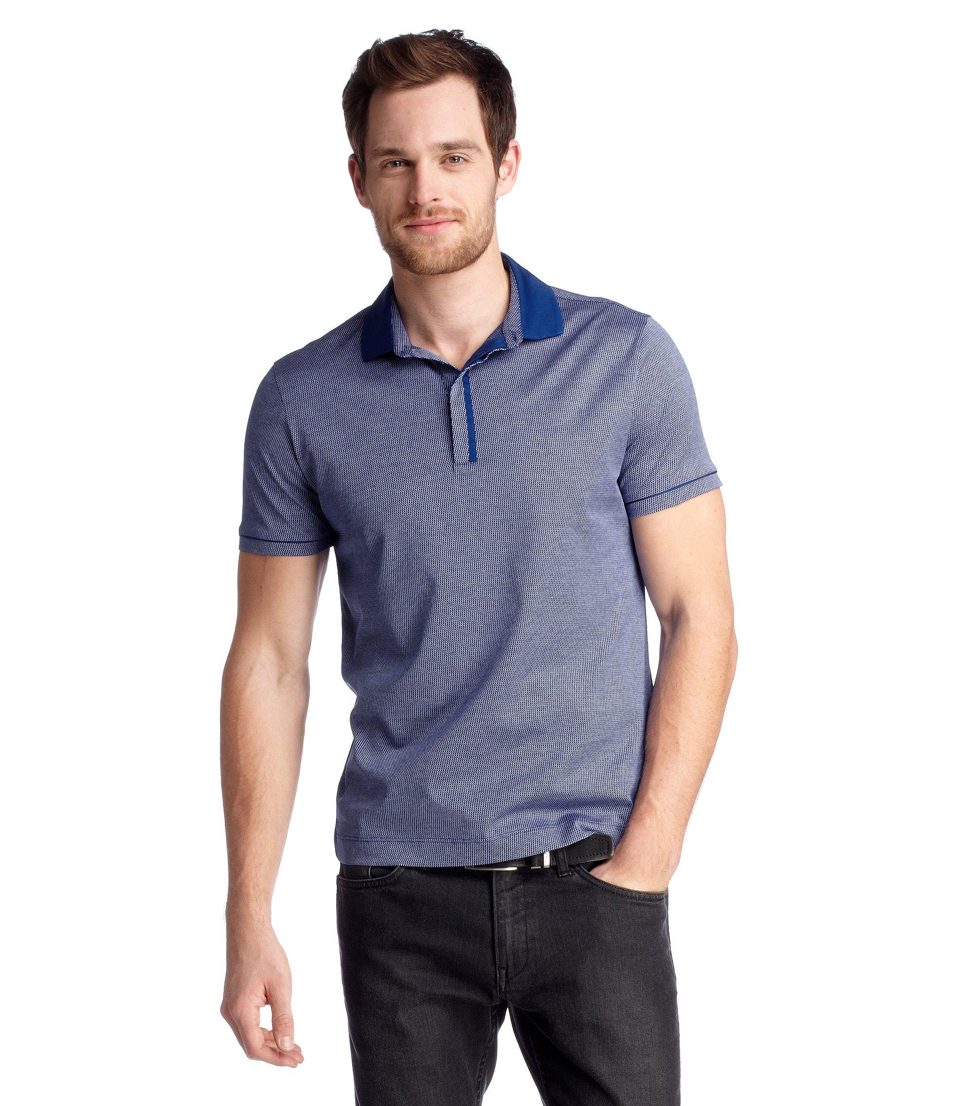Regular-Fit Polo ´Bellano 08` mit Allover-Muster, Blau