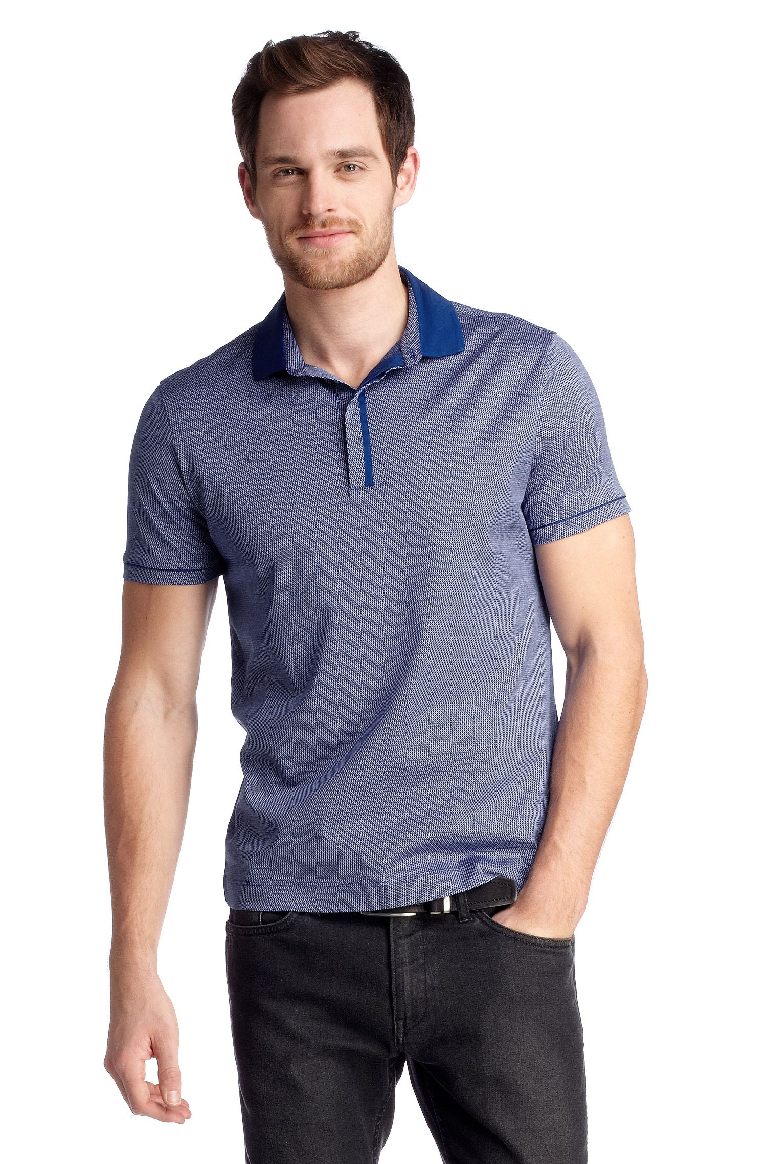 Regular fit polo ´Bellano 08` met dessin