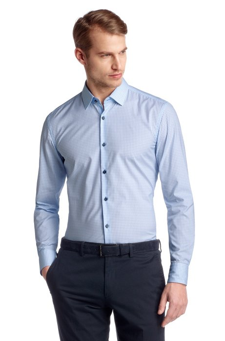 Slim fit business shirt with Kent collar 'Juri', Open Blue