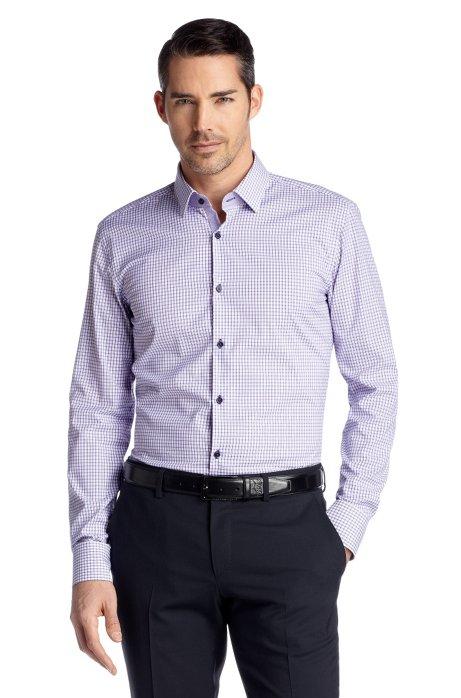 Slim fit business shirt with Kent collar 'Juri', Purple