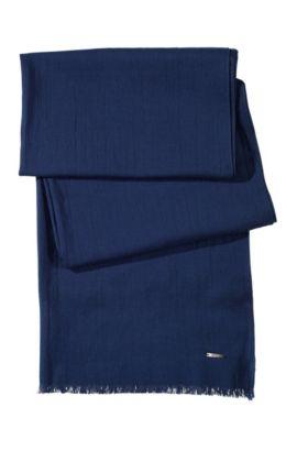 Écharpe «Men-Z391» en coton avec franges, Bleu foncé