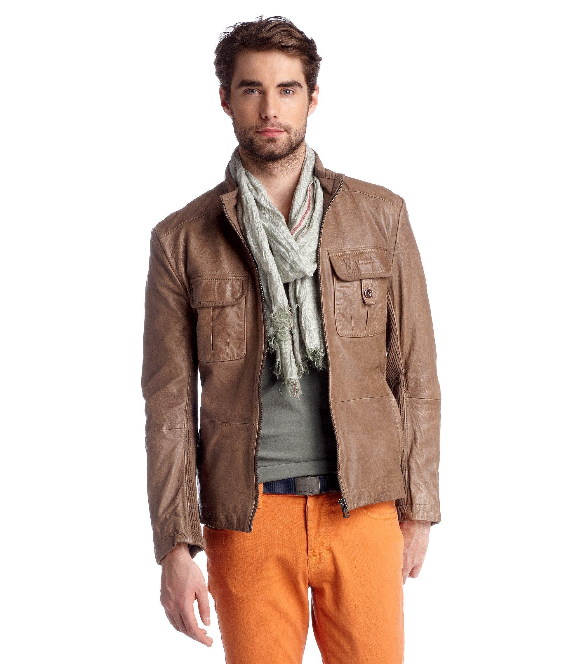 Lamb leather jacket 'Jotti', Beige
