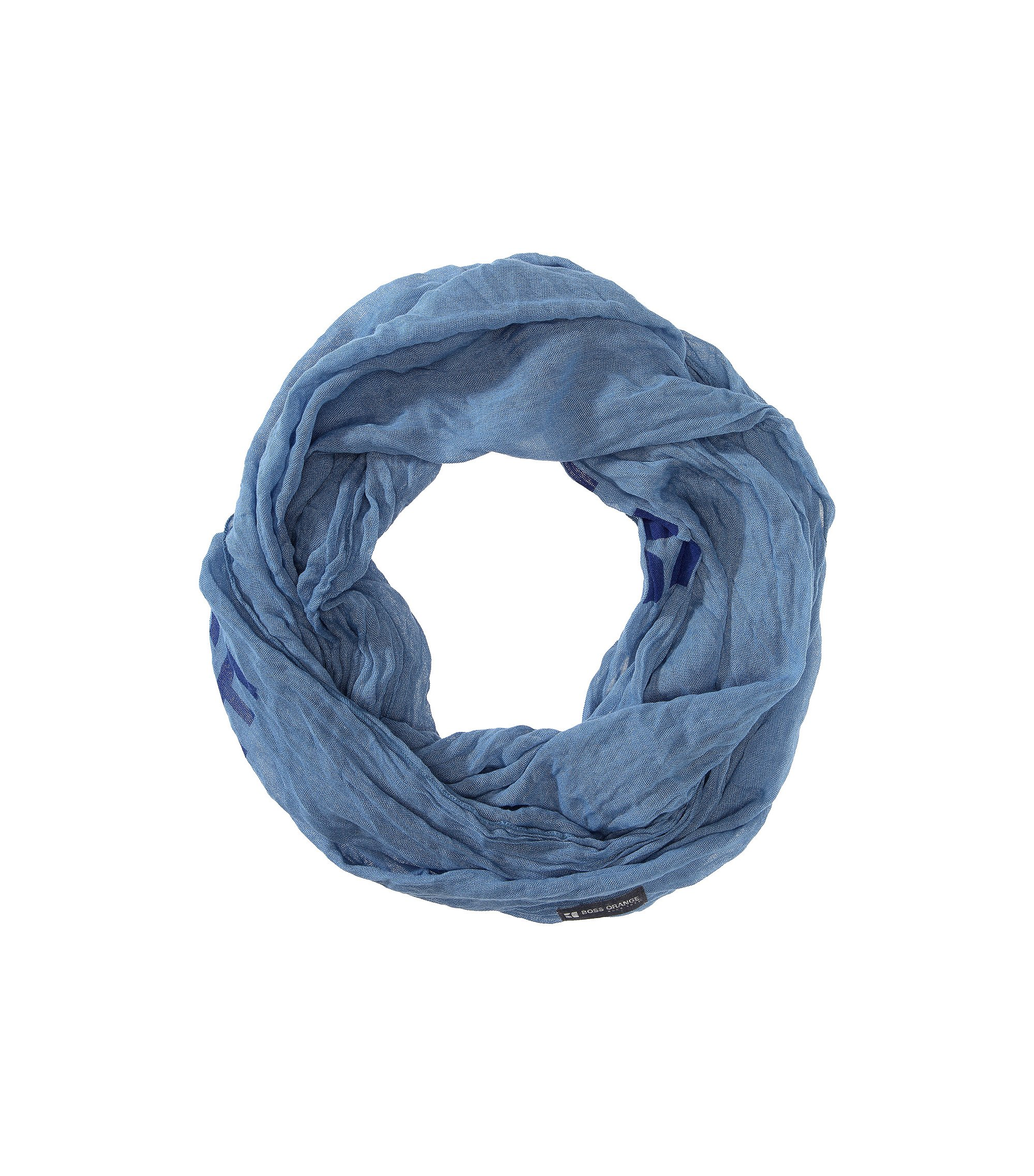 Ronde sjaal ´Nuot1` met logotekst, Blauw
