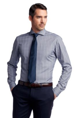 Chemise business à carreaux tissés, Christo, Bleu foncé