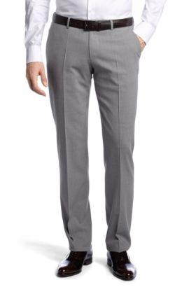 Kostuumbroek ´Court1` van zuivere scheerwol, Zilver