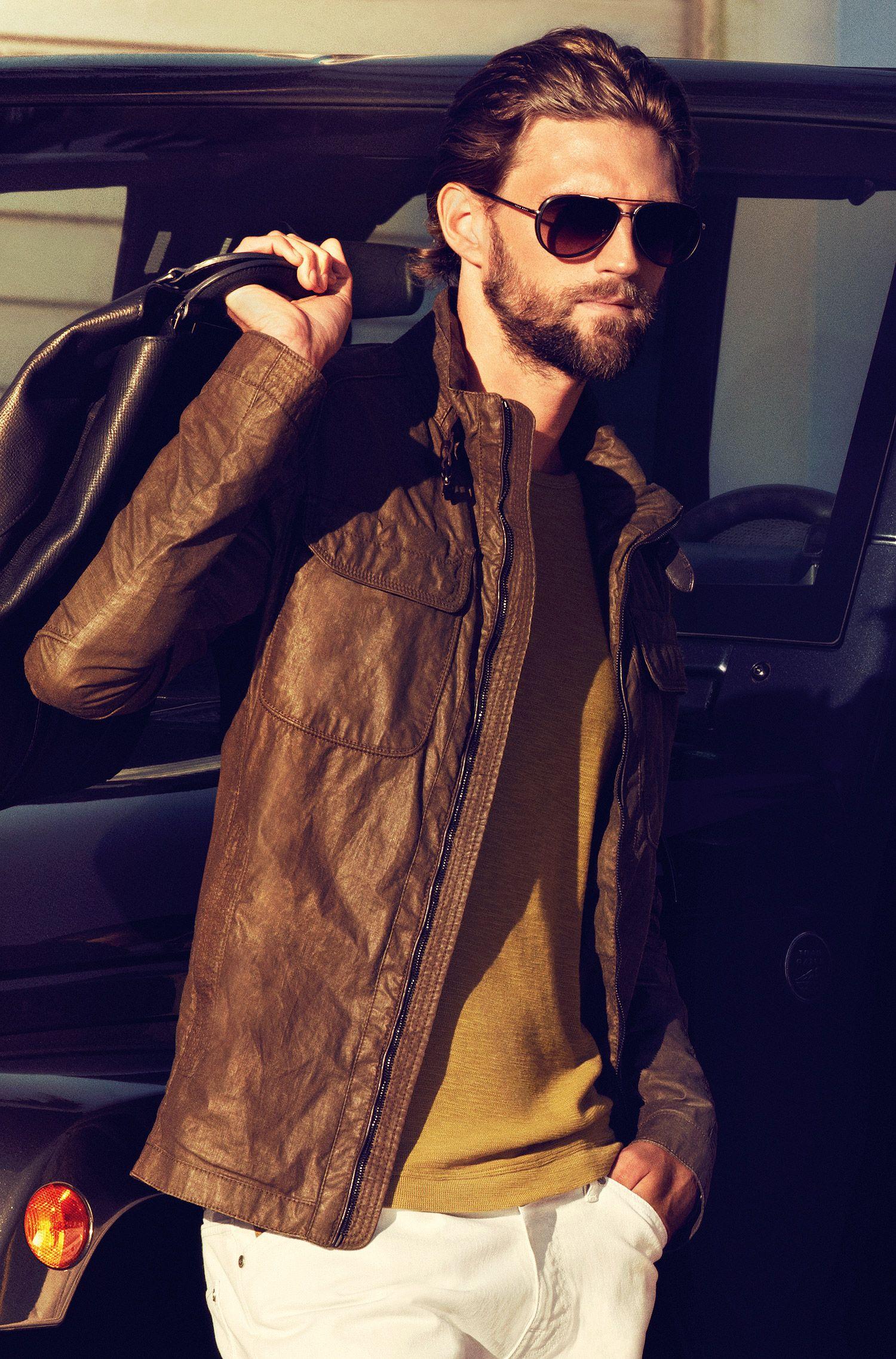 Slim-Fit Strickshirt ´Lecco` mit Rundhals-Ausschnitt, Dunkelgrün