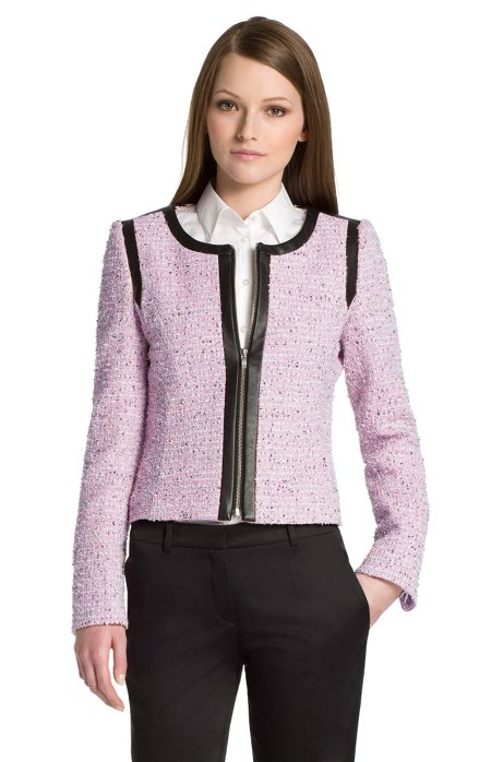 Short jacket in blended cotton 'Adeli', light pink