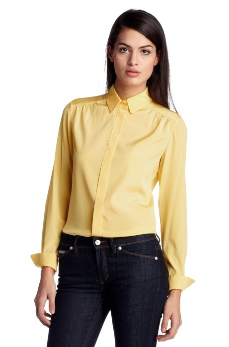 Shimmering, silk blend blouse 'Basola', Light Yellow