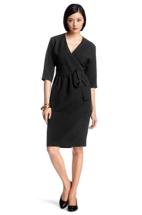 Wrap dress with 3/4 sleeves 'Dayena', Black