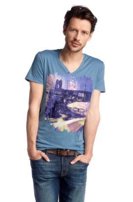 T-Shirt ´Tryon` mit V-Ausschnitt, Hellblau