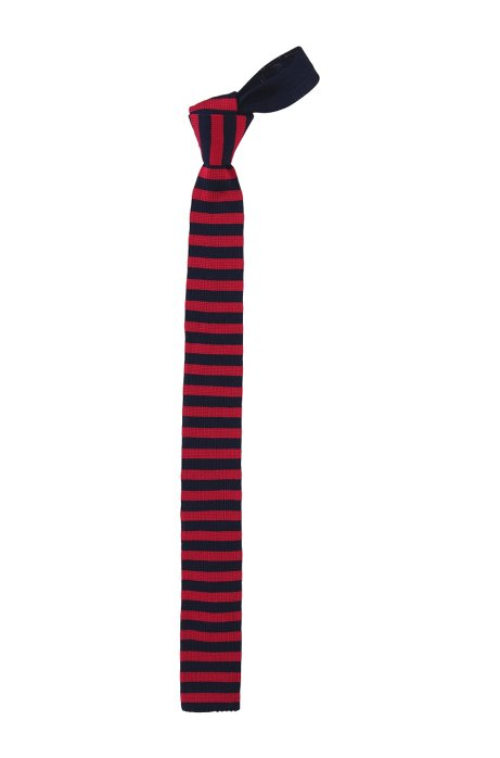 Knit cotton tie 'Tie 5 cm knitted', Red