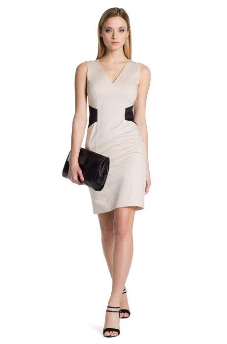Cotton blend shift dress 'Klanis', Light Beige