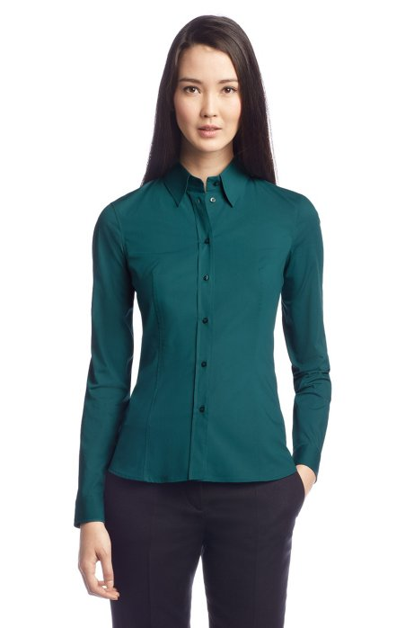Business blouse 'Banu11' with a Kent collar, Open Green