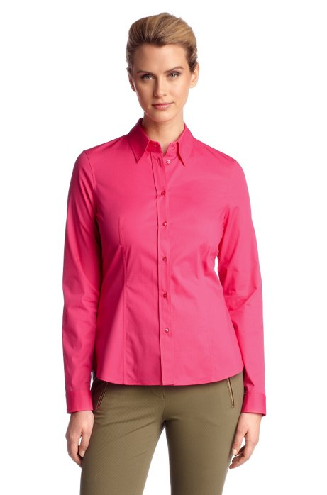 Business blouse 'Banu11' with a Kent collar, Open Red