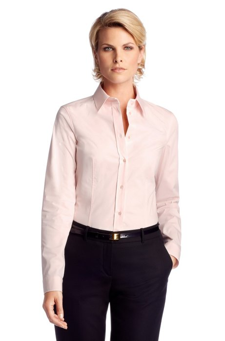 Business blouse 'Banu11' with a Kent collar, Light Orange