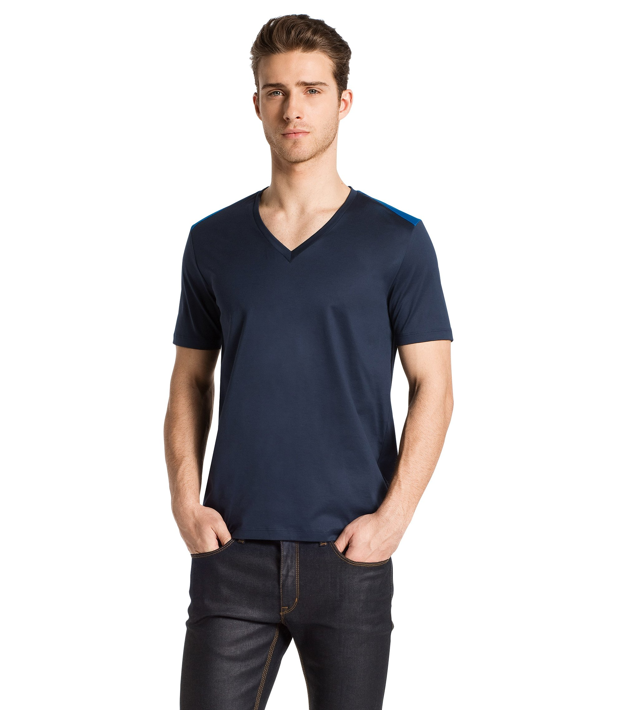V-neck T-shirt 'Drapple', Dark Grey