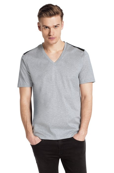 V-neck T-shirt 'Drapple', Dark Grey