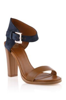Sandales en cuir de vachette mélangé, Skelli, Bleu foncé