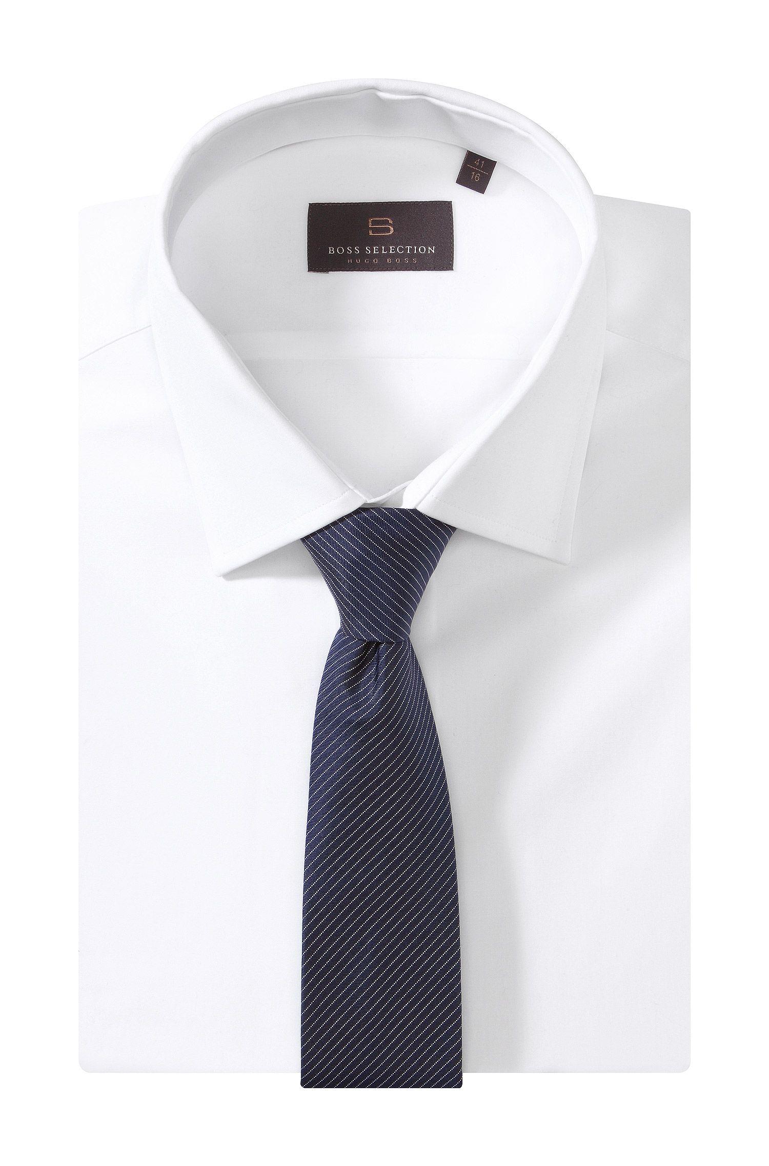 Krawatte ´TIE 6 CM` mit feinen Nadelstreifen, Donkerblauw
