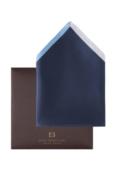 Pocket square with a border 'Pocket square 33x33, Dark Blue
