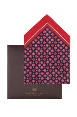 Pochette en soie et coton, Pocket square 33 x 33, Bleu foncé