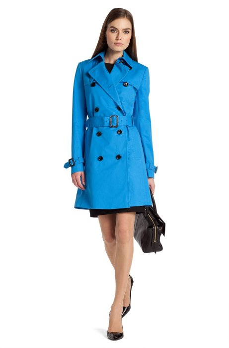 Trench coat 'Mihala-1' in cotton with a cape collar, Turquoise