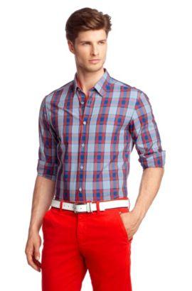Vrijetijdsoverhemd ´Bugsville` met kentkraag, Donkerblauw