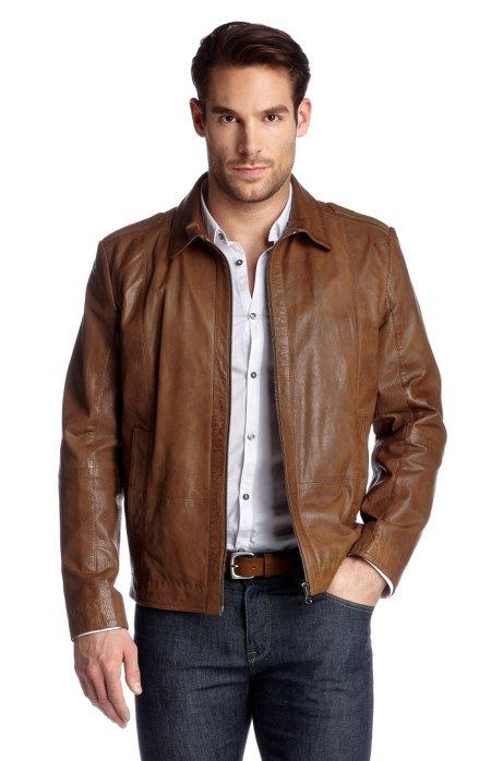 Genuine goatskin leather jacket 'Garrin1', Brown