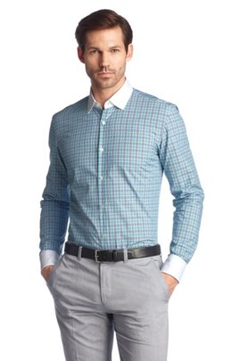 Business shirt with Winchester collar 'Jonne', Open Green