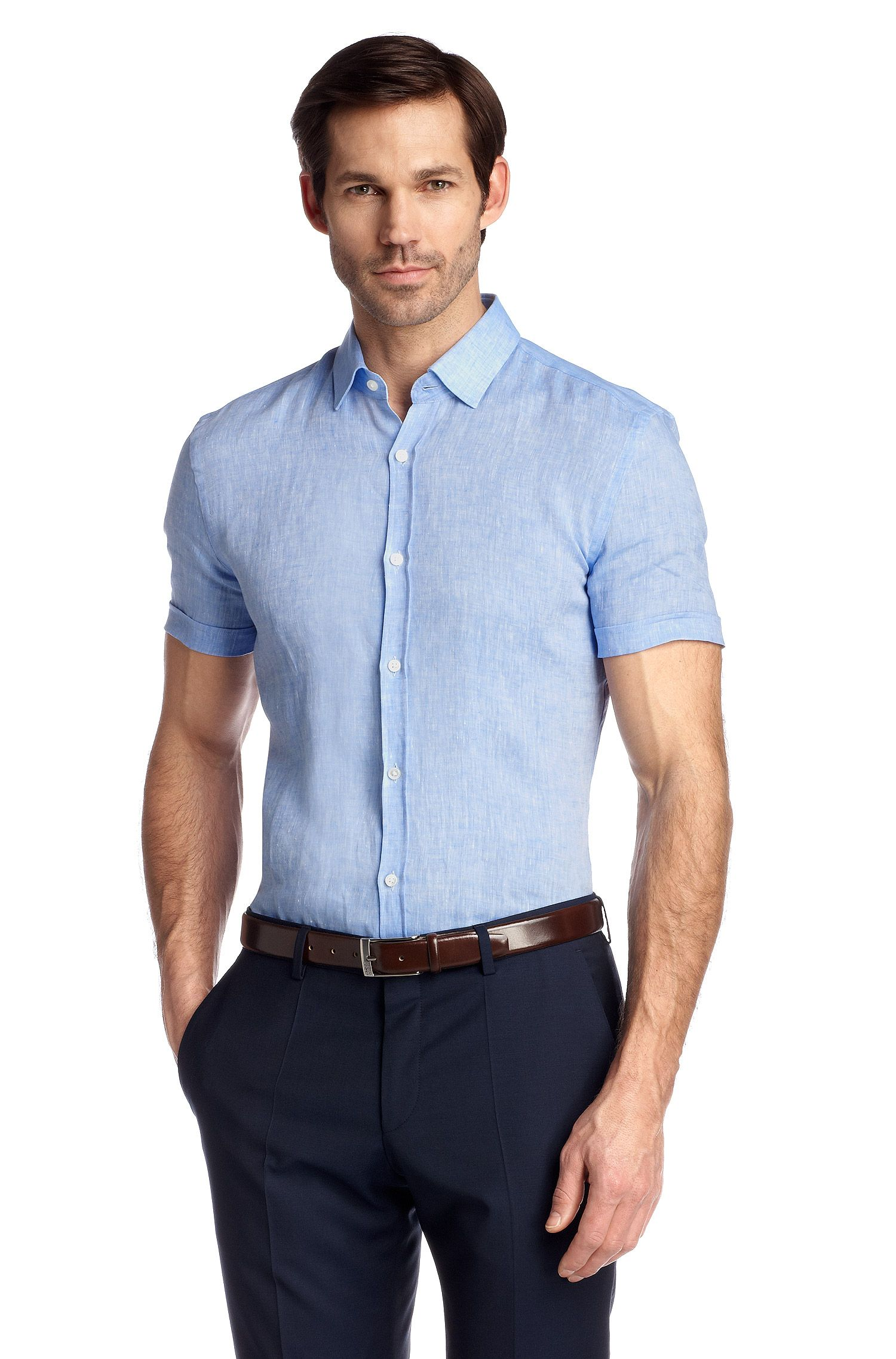 Business-Hemd ´Jats` aus Leinen, Hellblau