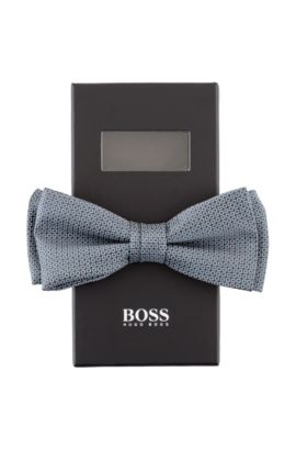 Nœud papillon en soie brillante, Bow tie fashion, Gris