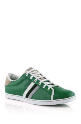 Sneaker ´Micks` aus perforiertem Kalbsleder, Dunkelgrün