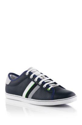 Sneaker in perforated calfskin leather 'Micks', Dark Blue