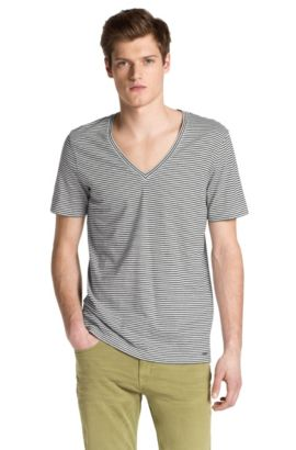 T-Shirt ´Demerson` mit V-Ausschnitt, Weiß