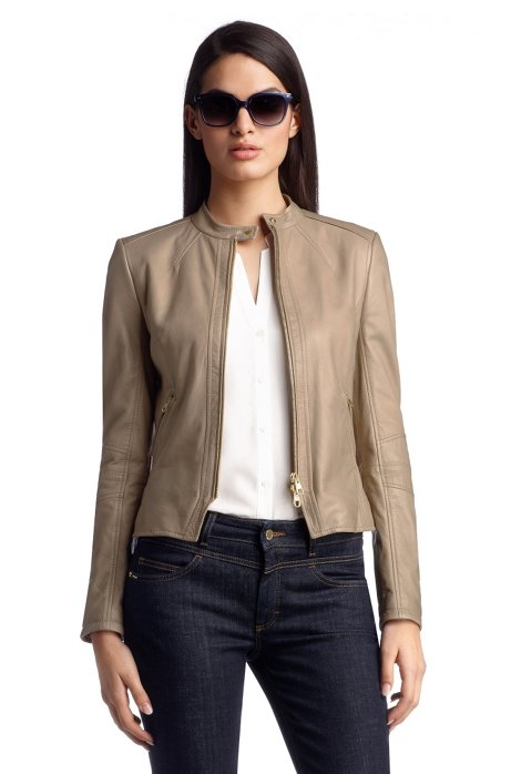 Leather jacket 'LE955', Open Beige