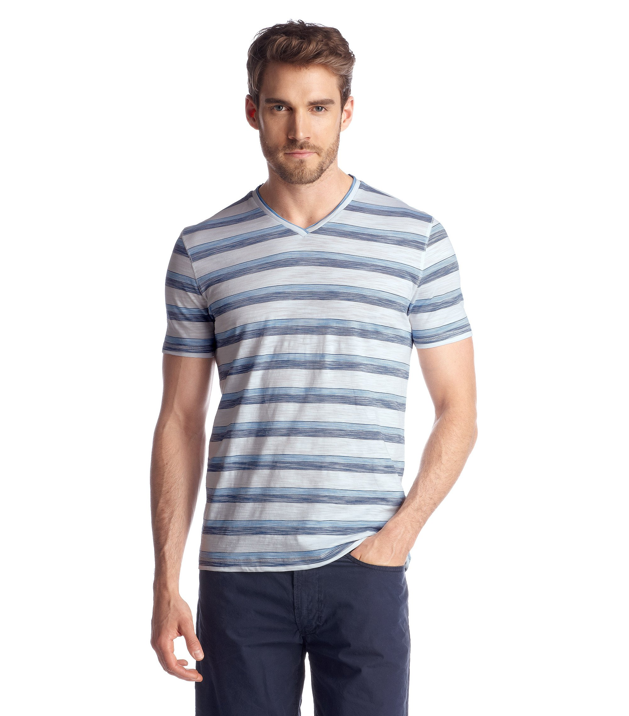 V-neck T-shirt 'Eraldo 54', Light Blue