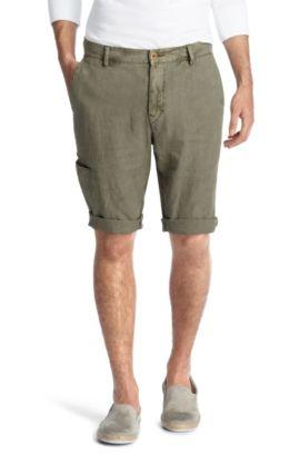 Bermuda 'Stimo-Shorts-D' van zuiver linnen, Donkergroen
