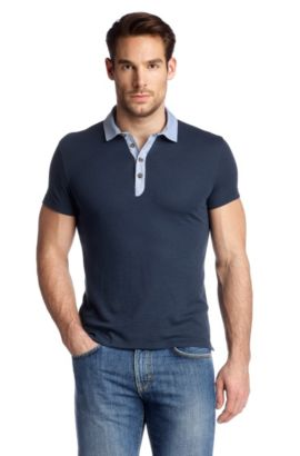 Poloshirt 'Salino 02' met  horizontale strepen, Lichtblauw