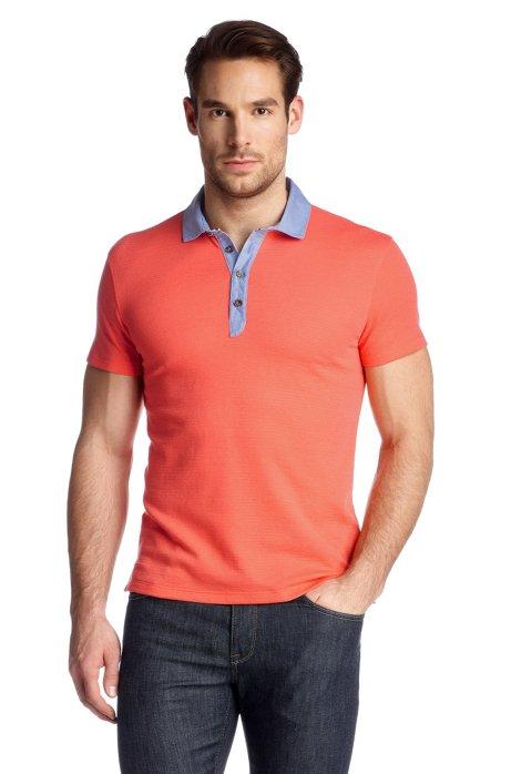 Striped polo shirt 'Salino 02', Open Red
