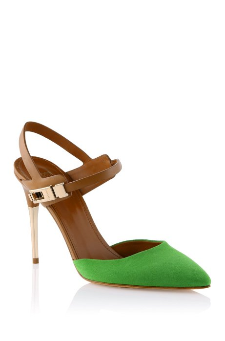 Mixed suede pump 'Chendra-S', Green