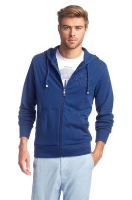 Sweatshirt-Jacke ´Saggos` aus reiner Baumwolle, Blau