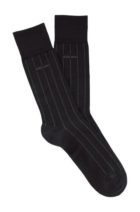 Socks 'George Stripes Col.' in a cotton blend, Dark Brown