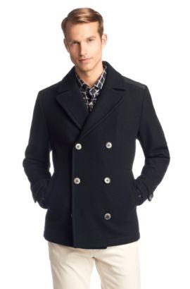 Manteau court en laine vierge mélangée, Camius, Bleu foncé